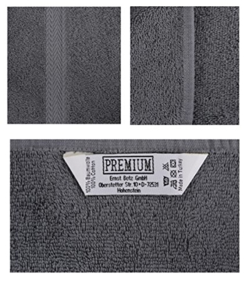 Betz 10-TLG. Handtuch-Set Premium 100% Baumwolle 2 Duschtücher 4 Handtücher 2 Gästetücher 2 Waschhandschuhe Farbe Türkis & Anthrazit Grau - 6