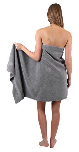 Betz 10-TLG. Handtuch-Set Premium 100% Baumwolle 2 Duschtücher 4 Handtücher 2 Gästetücher 2 Waschhandschuhe Farbe Türkis & Anthrazit Grau - 7