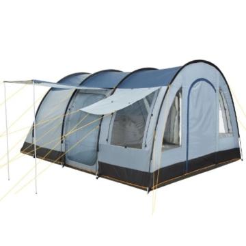 CampFeuer Campingzelt für 4 Personen   Großes Familienzelt mit 3 Eingängen und 5.000 mm Wassersäule   Tunnelzelt   blau/grau   Gruppenzelt   So Macht Camping Spaß! - 4