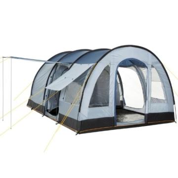 CampFeuer Campingzelt für 4 Personen   Großes Familienzelt mit 3 Eingängen und 5.000 mm Wassersäule   Tunnelzelt   blau/grau   Gruppenzelt   So Macht Camping Spaß! - 1