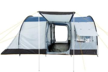 CampFeuer Campingzelt für 4 Personen   Großes Familienzelt mit 3 Eingängen und 5.000 mm Wassersäule   Tunnelzelt   blau/grau   Gruppenzelt   So Macht Camping Spaß! - 6