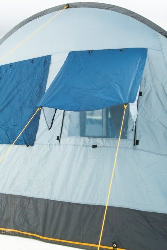 CampFeuer Campingzelt für 4 Personen   Großes Familienzelt mit 3 Eingängen und 5.000 mm Wassersäule   Tunnelzelt   blau/grau   Gruppenzelt   So Macht Camping Spaß! - 7