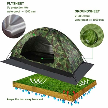 Camping-Zelt - Wasserdichte UV protaction Einzel Personen-Zelt Bewegliche Tarnzelt mit Tragetasche for Camping Backpacking Picknick Angeln Außeneinsatz - 3