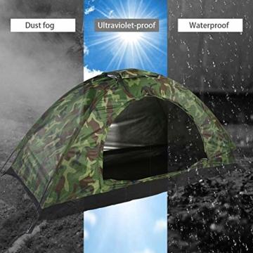 Camping-Zelt - Wasserdichte UV protaction Einzel Personen-Zelt Bewegliche Tarnzelt mit Tragetasche for Camping Backpacking Picknick Angeln Außeneinsatz - 4
