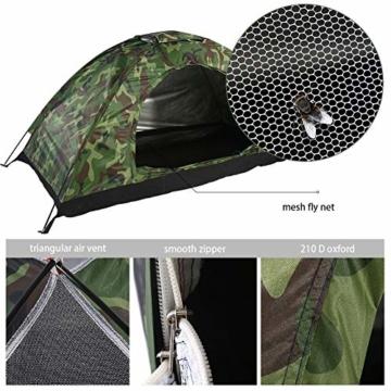 Camping-Zelt - Wasserdichte UV protaction Einzel Personen-Zelt Bewegliche Tarnzelt mit Tragetasche for Camping Backpacking Picknick Angeln Außeneinsatz - 6