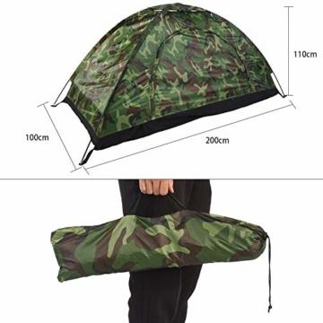 Camping-Zelt - Wasserdichte UV protaction Einzel Personen-Zelt Bewegliche Tarnzelt mit Tragetasche for Camping Backpacking Picknick Angeln Außeneinsatz - 7