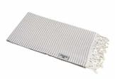 Carenesse Hamamtuch Streifen Light grau leicht und hauchzart, 100% Baumwolle, 90 x 180 cm, Pestemal, Saunatuch, Badetuch, Strandtuch, Handtuch Backpacker, Fouta - 1