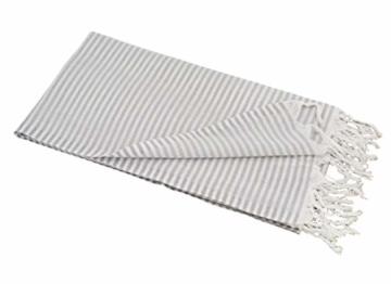 Carenesse Hamamtuch Streifen Light grau leicht und hauchzart, 100% Baumwolle, 90 x 180 cm, Pestemal, Saunatuch, Badetuch, Strandtuch, Handtuch Backpacker, Fouta - 3