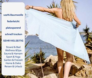 Carenesse Hamamtuch Streifen Light grau leicht und hauchzart, 100% Baumwolle, 90 x 180 cm, Pestemal, Saunatuch, Badetuch, Strandtuch, Handtuch Backpacker, Fouta - 6