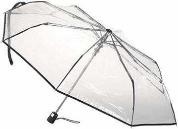 Carlo Milano Regenschirm: Stabiler Automatik-Taschenschirm mit transparentem Dach, Ø 100 cm (Schirm transparent) - 3