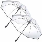 Carlo Milano Schirm: 2er-Set transparente Stock-Regenschirme, Stahl & Fiberglas, Ø 100 cm (Regenschirm durchsichtig) - 1