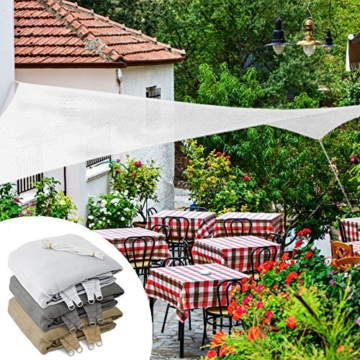 casa pura Sonnensegel für Garten, Terrasse & Balkon | wetterbeständig, UV-stabilisiert & atmungsaktiv | Sonnenschutz | Farbe Weiß, quadratisch 3x3m - 2