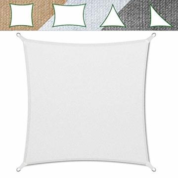 casa pura Sonnensegel für Garten, Terrasse & Balkon | wetterbeständig, UV-stabilisiert & atmungsaktiv | Sonnenschutz | Farbe Weiß, quadratisch 3x3m - 1