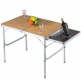 COSTWAY Campingtisch klappbar, Klapptisch mit Seitenablage, Koffertisch mit Tragegriff, Esstisch Biertisch für Garten Balkon 90x60cm - 1