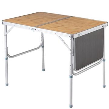 COSTWAY Campingtisch klappbar, Klapptisch mit Seitenablage, Koffertisch mit Tragegriff, Esstisch Biertisch für Garten Balkon 90x60cm - 7