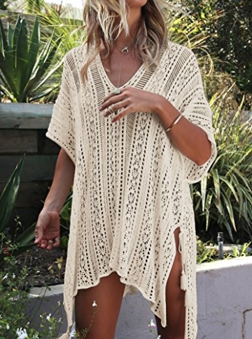 Damen Gestrickte Strandkleid Sommer Strandponcho Strandurlaub Badeanzug Bikini Cover-Ups HAIGOU (One Size, Beige) - 2
