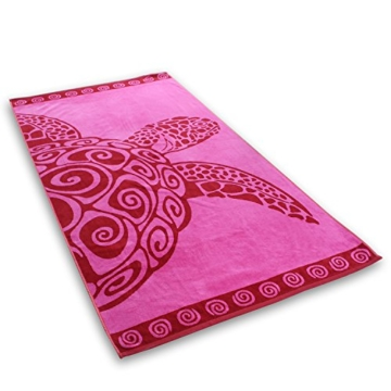 DecoKing Strandtuch groß 90x180 cm Baumwolle Frottee Velours Badetuch Fuchsia rosa rot Pink Turtle - 2