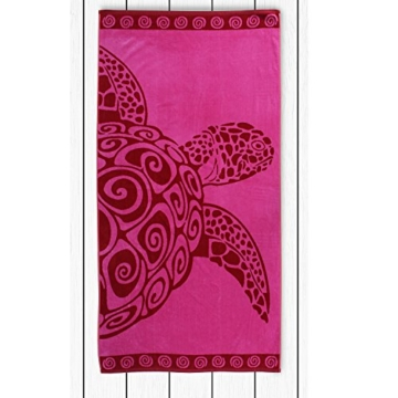 DecoKing Strandtuch groß 90x180 cm Baumwolle Frottee Velours Badetuch Fuchsia rosa rot Pink Turtle - 3