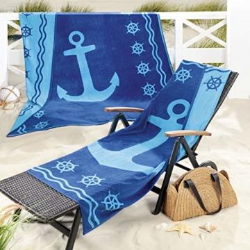Delindo Lifestyle® Frottee Strandtuch Tropical Anker BLAU XXL, 100% Baumwolle, Strandlaken ist 180x200 cm groß - 4