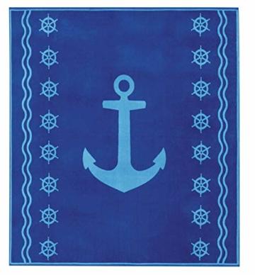 Delindo Lifestyle® Frottee Strandtuch Tropical Anker BLAU XXL, 100% Baumwolle, Strandlaken ist 180x200 cm groß - 1
