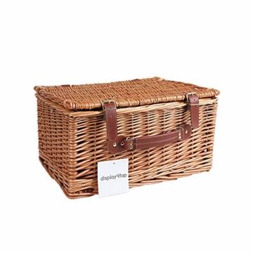 Display4top Deluxe 4 Personen Traditional Wicker Picknickkorb Wicker Hamper - Premium Set mit Tellern, Weingläsern, Besteck und Servietten (Blau) - 2