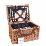 Display4top Deluxe 4 Personen Traditional Wicker Picknickkorb Wicker Hamper - Premium Set mit Tellern, Weingläsern, Besteck und Servietten (Blau) - 1