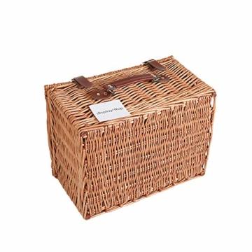 Display4top Deluxe 4 Personen Traditional Wicker Picknickkorb Wicker Hamper - Premium Set mit Tellern, Weingläsern, Besteck und Servietten (Blau) - 3