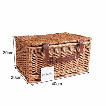 Display4top Deluxe 4 Personen Traditional Wicker Picknickkorb Wicker Hamper - Premium Set mit Tellern, Weingläsern, Besteck und Servietten (Blau) - 4