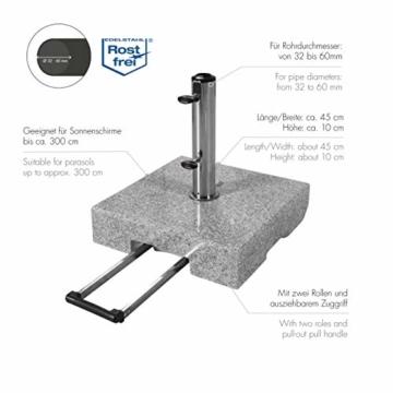 Doppler Active Trolley Granitsockel – 50 kg mit ausziehbarem Zuggriff und Rollen – Für Sonnenschirme – Rostfrei - 4