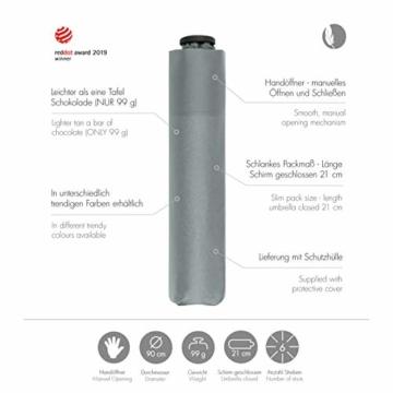 doppler Taschenschirm Zero,99 – Gewicht von nur 99 Gramm – Stabil – Windproof – 21 cm – Cool Grey - 4