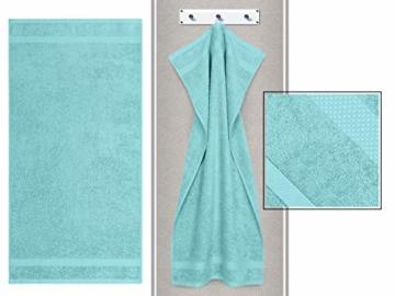 Dyckhoff Traumhaft weiche Bio-Handtuchserie - erhältlich in 22 modischen Unifarben in 7 verschiedenen Größen, sowie 7 Streifen-Variationen, 1 Handtuch 50 x 100 cm, türkis - 4