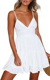 ECOWISH V Ausschnitt Kleid Damen Spitzenkleid Träger Rückenfreies Kleider Sommerkleider Strandkleider Weiß XL - 1