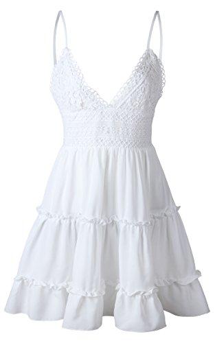ECOWISH V Ausschnitt Kleid Damen Spitzenkleid Träger Rückenfreies Kleider Sommerkleider Strandkleider Weiß XL - 3