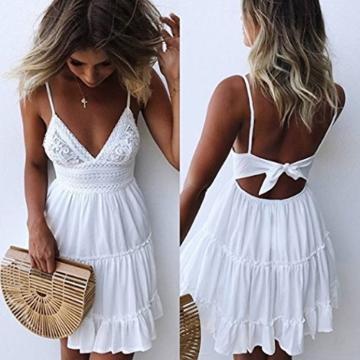 ECOWISH V Ausschnitt Kleid Damen Spitzenkleid Träger Rückenfreies Kleider Sommerkleider Strandkleider Weiß XL - 4