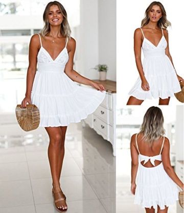 ECOWISH V Ausschnitt Kleid Damen Spitzenkleid Träger Rückenfreies Kleider Sommerkleider Strandkleider Weiß XL - 6