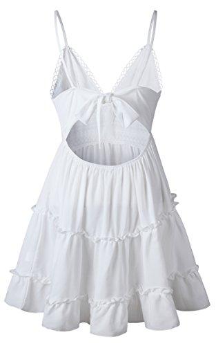 ECOWISH V Ausschnitt Kleid Damen Spitzenkleid Träger Rückenfreies Kleider Sommerkleider Strandkleider Weiß XL - 7