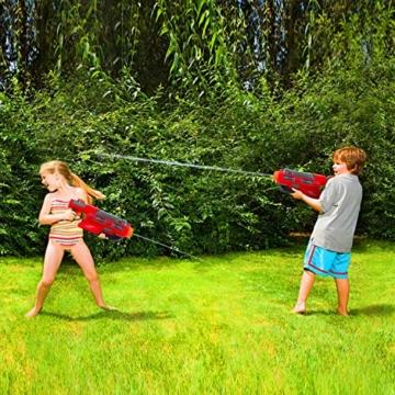EKKONG Wasserpistole, 2200ML Wasserpistolen groß mit 10 Meter Reichweite für Kinder und Erwachsene Sommerpartys im Freien, Strand, Pool, Garten Strandspielzeug (Rot-Schwarz) - 2
