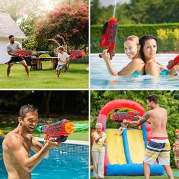 EKKONG Wasserpistole, 2200ML Wasserpistolen groß mit 10 Meter Reichweite für Kinder und Erwachsene Sommerpartys im Freien, Strand, Pool, Garten Strandspielzeug (Rot-Schwarz) - 4