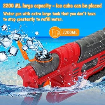 EKKONG Wasserpistole, 2200ML Wasserpistolen groß mit 10 Meter Reichweite für Kinder und Erwachsene Sommerpartys im Freien, Strand, Pool, Garten Strandspielzeug (Rot-Schwarz) - 6