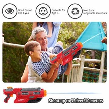 EKKONG Wasserpistole, 2200ML Wasserpistolen groß mit 10 Meter Reichweite für Kinder und Erwachsene Sommerpartys im Freien, Strand, Pool, Garten Strandspielzeug (Rot-Schwarz) - 7