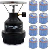 Elfmonkey Campingkocher E190 | Set aus Metall-Gaskocher & Gas | ideal für unterwegs: Modell: Schwarz + 8X Gaskartusche - 1