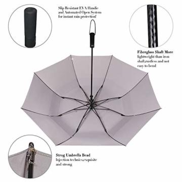 Eono by Amazon - 147cm Automatische Öffnen Golf Schirme Golf Umbrellas Foldable Golf Regenschirm, Extra große Golfschirme, Winddicht wasserdichte Stock Regenschirme, Grau - 3
