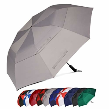 Eono by Amazon - 147cm Automatische Öffnen Golf Schirme Golf Umbrellas Foldable Golf Regenschirm, Extra große Golfschirme, Winddicht wasserdichte Stock Regenschirme, Grau - 1