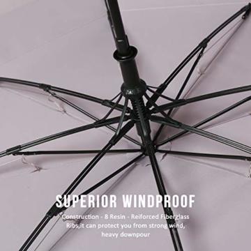 Eono by Amazon - 147cm Automatische Öffnen Golf Schirme Golf Umbrellas Foldable Golf Regenschirm, Extra große Golfschirme, Winddicht wasserdichte Stock Regenschirme, Grau - 6