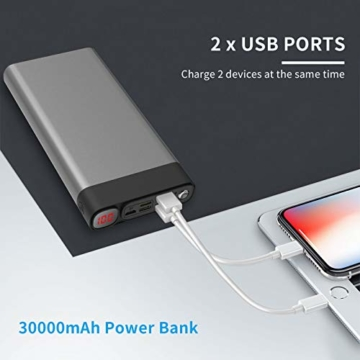 Externer Akku 30000mAh Powerbanks Mobiles Portable Ladegerät Die kann Nicht nur Ihr Handy Aufladen sondern sie ist auch kompatibel mit Spielkonsole ( Grau_30000mAh) - 4