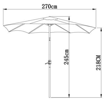 Gartenfreude Sonnenschirm, Durchmesser 270 cm, UV 50+, 270 x 270 x 245 cm, creme, 4900-1000-100 - 5