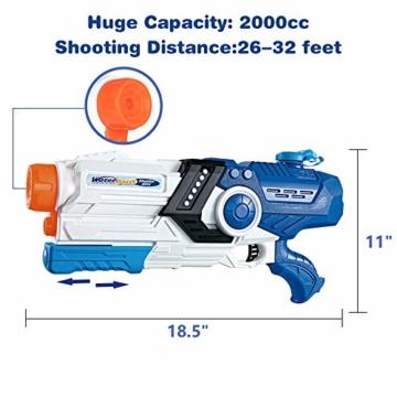 Gimsan Wasserpistole Spielzeug, 2000ML Spritzpistolen für Kinder Erwachsene Groß Wasserspritzpistolen 8-10 Metern Langer Reichweiter - 2