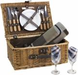 HappyPicnic Picknickkorb aus Weidengeflecht für 2 Personen mit Besteck Service Set, Vatermütter, Partys im Freien MEHRWEG - 1