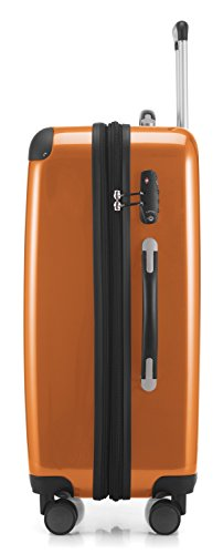 HAUPTSTADTKOFFER - Alex - 4 Doppel-Rollen Hartschalen-Koffer Koffer Trolley Rollkoffer Reisekoffer, TSA, 65 cm, 74 Liter, Orange - 3