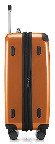 HAUPTSTADTKOFFER - Alex - 4 Doppel-Rollen Hartschalen-Koffer Koffer Trolley Rollkoffer Reisekoffer, TSA, 65 cm, 74 Liter, Orange - 4